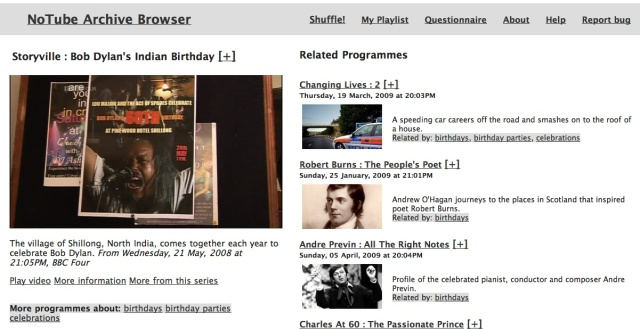 NoTube Archive Browser